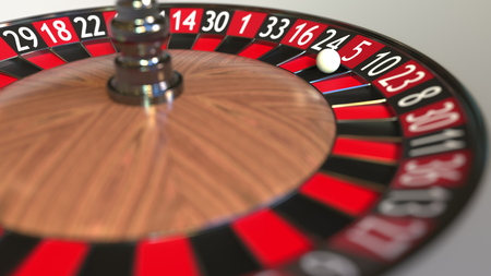 Casino roulette wheel ball hits 5 five red. 3D rendering