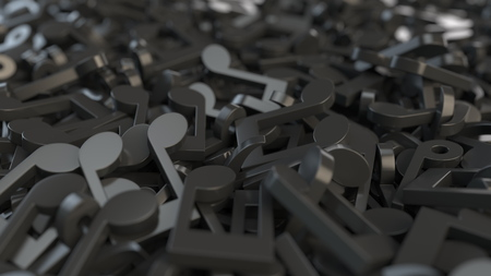 Black musical notes, 3D rendering