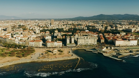 Aerial view of Livorno seafront, Italy