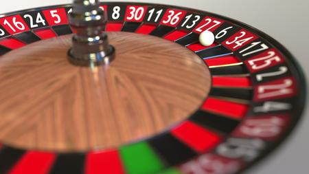 Casino roulette wheel ball hits 6 six black. 3D rendering Reklamní fotografie