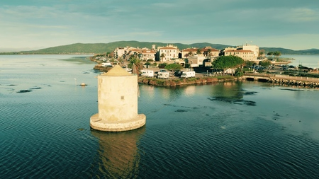 Aerial shot of town of Orbetello. Tuscany, Italy 免版税图像