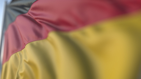 Waving flag of Germany, shallow focus close-up. Realistic 3D rendering