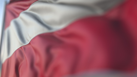 Waving flag of Austria, shallow focus close-up. Realistic 3D rendering Фото со стока