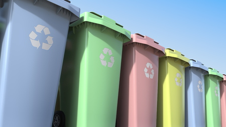 Multicolor plastic trash containers with wheels. 3D rendering