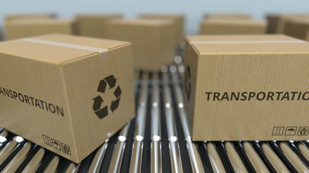 Carton boxes with TRANSPORTATION text move on roller conveyor. 3D rendering