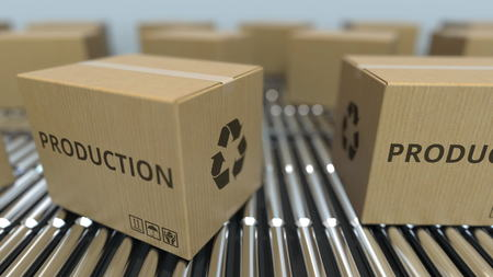 Carton boxes with PRODUCTION text move on roller conveyor. 3D rendering