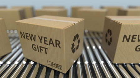 Carton boxes with NEW YEAR GIFT text move on roller conveyor. 3D rendering