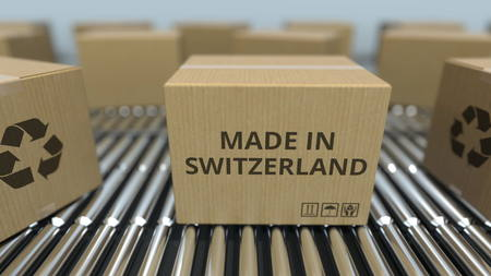 Boxes with MADE IN SWITZERLAND text on roller conveyor. Swiss goods related 3D rendering Standard-Bild