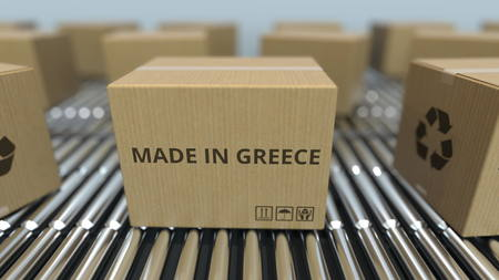 Boxes with MADE IN GREECE text on roller conveyor. Greek goods related 3D rendering