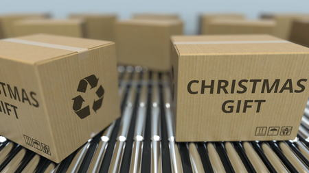 Carton boxes with CHRISTMAS GIFT text move on roller conveyor. 3D rendering