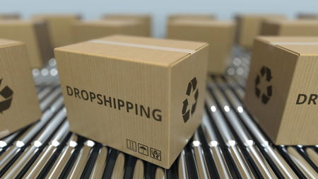 Carton boxes with DROPSHIPPING text move on roller conveyor. 3D rendering Imagens