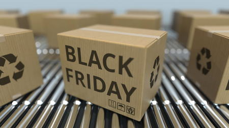 Carton boxes with BLACK FRIDAY text move on roller conveyor. 3D rendering