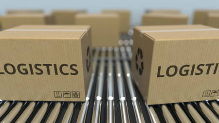 Carton boxes with LOGISTICS text move on roller conveyor. 3D rendering