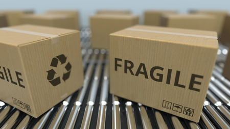 Carton boxes with FRAGILE text move on roller conveyor. 3D rendering