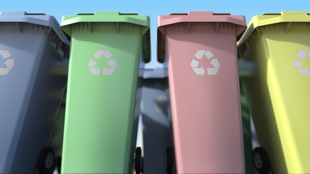 Many plastic trash cans with for sorting domestic garbage. 3D rendering