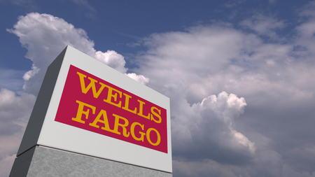 WELLS FARGO logo against sky background, editorial 3D rendering