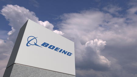 BOEING logo on sky background, editorial 3D rendering 新闻类图片