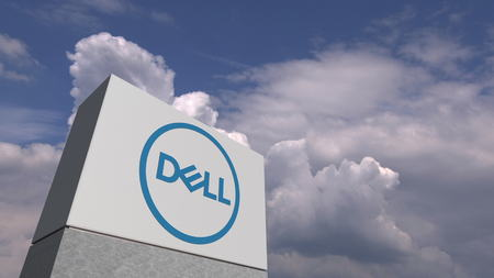 DELL logo on sky background, editorial 3D rendering