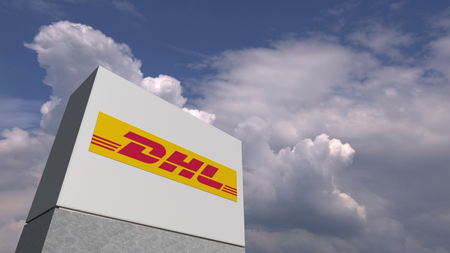 Logo of DHL on a stand against cloudy sky, editorial 3D rendering