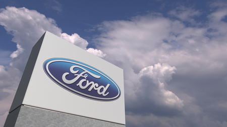 FORD logo on sky background, editorial 3D rendering 報道画像