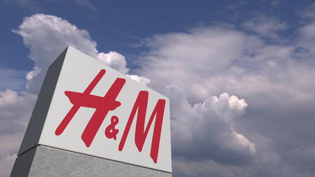 H&M logo on sky background, editorial 3D rendering Editorial