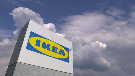 IKEA logo against sky background, editorial 3D rendering