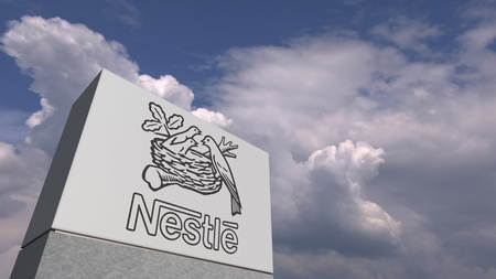 NESTLE logo against sky background, editorial 3D rendering Zdjęcie Seryjne - 127150790