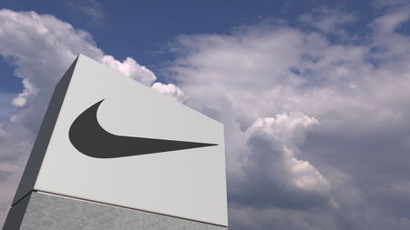 NIKE logo against sky background, editorial 3D rendering Editorial