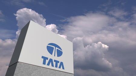TATA logo against sky background, editorial 3D rendering Editoriali