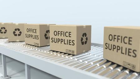 Cartons with office supplies on roller conveyor. 3D rendering Stock fotó