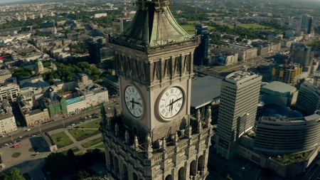 WARSAW, POLAND - JUNE 5, 2019. Aerial view of the clock on famous Palace of Culture and Science in city centre