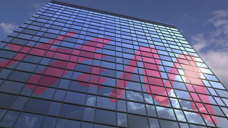 H&M logo on modern building reflecting sky and clouds, editorial 3D rendering Editorial