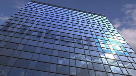Company logo on modern building against sky background, conceptual editorial 3D Editorial