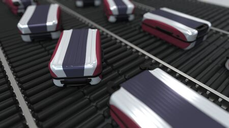 Many travel suitcases featuring flag of Thailand on roller conveyer. Thai tourism conceptual 3D rendering
