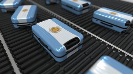 Many travel suitcases featuring flag of Argentina. Argentinian tourism conceptual 3D rendering