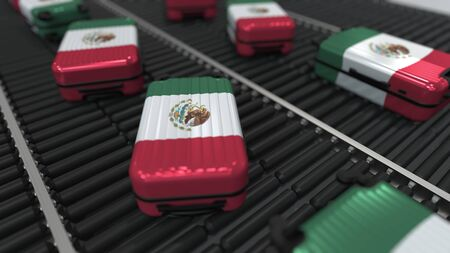 Many travel suitcases featuring flag of Mexico. Mexican tourism conceptual 3D rendering