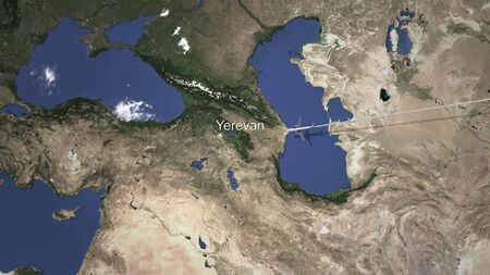 Plane arriving to Yerevan, Armenia from east, 3D rendering