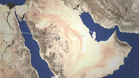 Plane arriving to Riyadh, Saudi arabia from west, 3D rendering Standard-Bild