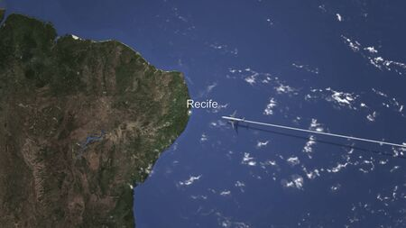 Plane arriving to Recife, Brazil from east, 3D rendering Imagens