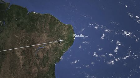 Airplane flying to Recife, Brazil on the map. 3D rendering