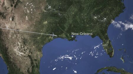 Commercial airplane flying to New orleans, United states. 3D rendering