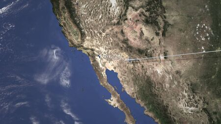 Airplane flying to Mexicali, Mexico from east. 3D rendering