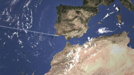 Route of a commercial plane flying to Malaga, Spain on the map. 3D rendering
