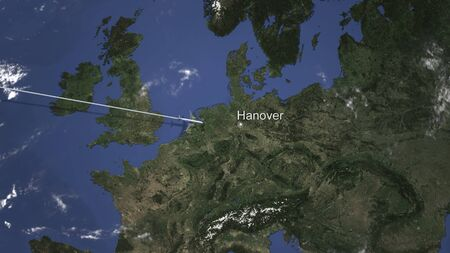 Commercial plane arrives to Hanover, Germany, 3D rendering