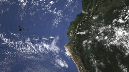 Route of a commercial plane flying to Guayaquil, Ecuador on the map. 3D rendering