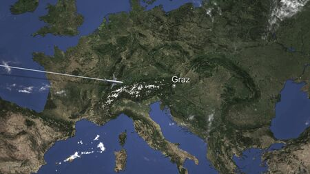 Route of a commercial plane flying to Graz, Austria on the map. 3D rendering