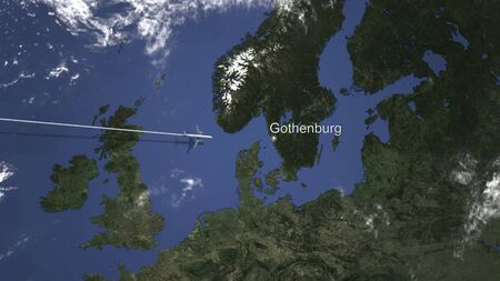 Commercial plane arrives to Gothenburg, Sweden, 3D rendering Stock Photo