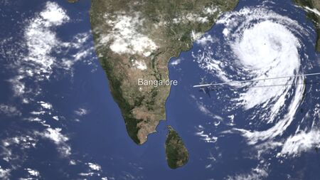 Plane arriving to Bangalore, India from east, 3D rendering Standard-Bild