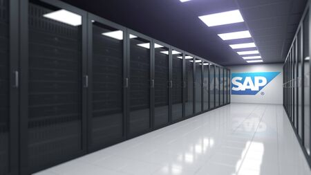 SAP logo in the server room, editorial 3D rendering