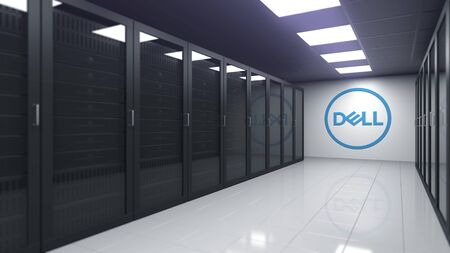 DELL logo in the server room, editorial 3D rendering